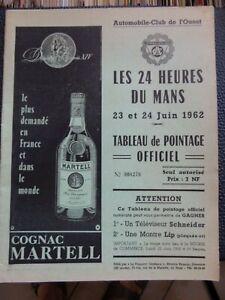 PROGRAMME tableau de pointage DES 24 HEURES DU MANS 1962.pub cognac etc