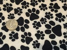 Fabric Dog Paws Black on White Flannel by the 1/4 yard