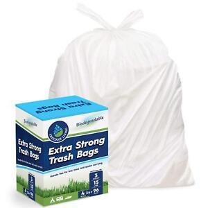 Freedom Living Biodegradable Heavy Duty White Trash Bags with Handle Ties
