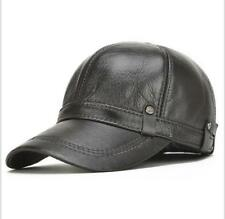 Men's Ear Hat 100% Genuine Leather Hat Winter Warm Cowhide Baseball Cap