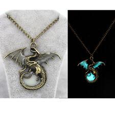 Mens Glow in the Dark Retro Dragon Pendant Necklace Silver Chain Jewelry Gift