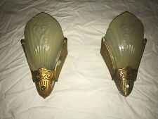 Pair of Virden Art Deco slip shade wall lights