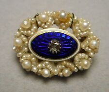 Rose Cut Diamond Oval Brooch Pin Tiny Antique Georgian Seed Pearl Cobalt Enamel