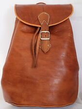 069 Large Vintage Style Real Genuine Leather Bag Rucksack Backpack Brown Tan