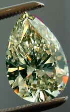 1.36 ct SI2/OFF WHITE YELLOW LOOSE PEAR REAL MOISSANITE 4 RING/PENDANT