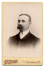 MAN WITH HUGE BROOM MUSTACHE. CABINET CARD, ALTOONA, PA.