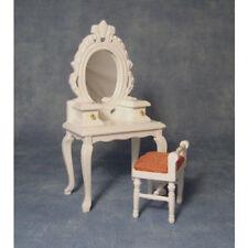 Dolls House miniatura scala 1:12th bianco tavolino da toeletta con sgabello rosa