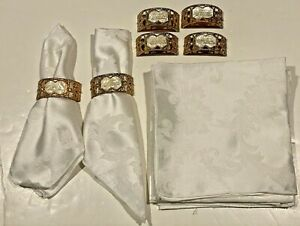 AMTIQUE BRASS NAPKIN RINGS WITH INLAY MOTHER OF PEARL PRAYER