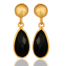 14K Gold Plated Silver Fashion Jewelry Black Onyx Gemstone Dangle Earring