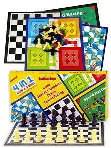 4 IN 1 Juegos de Mesa para Niños - Ludo ,Serpiente Y Escalera,Ajedrez Y Carreras