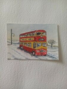 ACEO Art card Red Bus in the snow,  in watercolours and pen