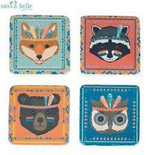 New Set of 4 Animal Adventure Coasters Sass & Belle Fox Raccoon Bear Owl Bear