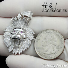 MEN 925 STERLING SILVER ICED OUT BLING LION KING HEAD CROWN PENDANT*MSP122
