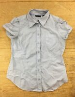 New York & Company Women's Shirt Size Medium Button Up Blue White Striped Top