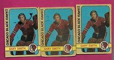 3 X 1972-73 OPC # 117  HAWKS GARY SMITH GOALIE CARD (INV# 8299)