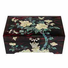 Mother of Pearl Flower Wood Red Treasure Korean Jewelry Trinket Gift Box Chest