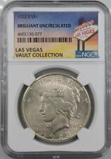 1923-S Peace Dollar NGC Brilliant UNC Las Vegas Vault Collection Home of Binion