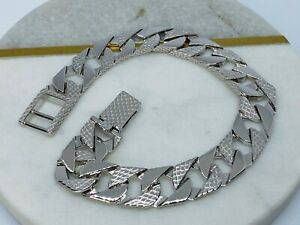 Mens Square Ribbed Edge -SOLID 925 Sterling Silver- 10MM Curb Link Bracelet 8.5