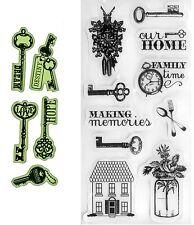 2 Sets Rubber Stamps - Key Phrases - Destiny, Dream, Love, Hope, Imagine, Keys