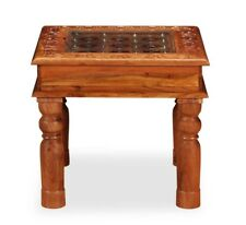 Small Vintage Coffee Table Retro Antique Furniture Solid Wood Glass Top Copper