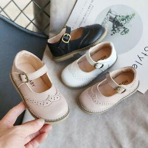 Toddler Infant Kids Baby Girls Vintage Solid Princess Soft Sole Leather Shoes