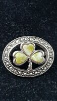Vintage Sol d'or Irish Faux Connemara marble Clover & Marcasite Boarder brooch