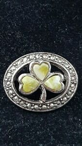 Vintage Sol d'or Irish Faux Connemara marble Clover & Marcasite Boarder brooch