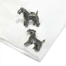 Silver Pewter Fox Terrier Cufflinks Handmade in England Dog Pet Cuff Links New
