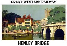 Art ad Great Western Railway Henley Puente Ferrocarril Tren viajar cartel impresión