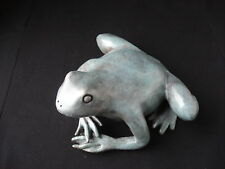 "Lost Wax Cast Bronze Sculpture   ""FROG"" Amphibian Decorative  Fine Art"