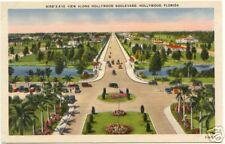HOLLYWOOD Blvd FLORIDA Bird's Eye View ~ LINEN
