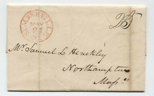 1844 Sumterville SC red CDS stampless letter [6246.612]