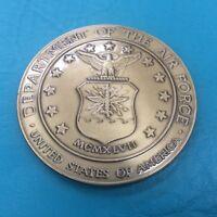 "2 1/2"" Military Service Medallion Air Force Flag Case Bronze Gold Dash Plaque"