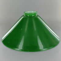 "10"" ~ GREEN Cased Glass ~ Hanging Lamp ~ CONE SHADE  ~ 2 1/4"" Fitter"
