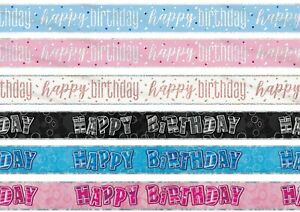 9ft Foil Happy Birthday Glitz Banner Party Decorations Shiny Rose Gold Pink Blue