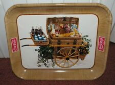 Vintage Coca Cola Coke Wicker basket cart Coke bottles metal tray