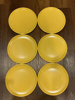 "Vintage SRO Texas Ware  7 3/4"" Melamine Melmac Dessert Plates 6 Yellow NWT"