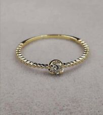 18CT SOLID GOLD 10PT ROUND DIAMOND SOLITAIRE RING SIZE P 1/2