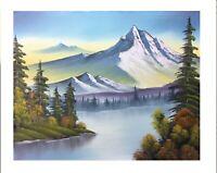 Original Oil painting Bob Ross Style Landscape Autumn Scene Art Decor Wall Art