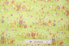 Garden Bunnies Easter Spring Flowers Susan Winget Cotton Fabric BTY (E1) +