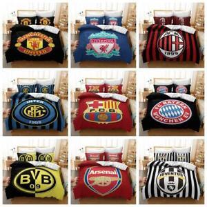 2/3Pcs Football Club Quilt AU Doona Duvet Cover Set Single Double Queen Size Bed