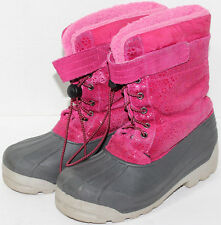 Girls LANDS END PINK LEATHER UPPER Rubber Sole WATERPROOF WINTER BOOTS Size 5