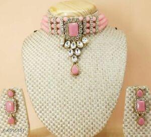 Indian Women Necklace Set Gold Plated Jewelry Kundan Choker Fashion Wedding Gift