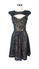 CUE Dress- Vintage Style Black Burnout Geometric A-Line Tie Bow Pleat Cutout - 6