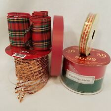 Christmas Ribbon Destash  Lot of 5 rolls  Various Styles and Materials