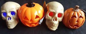 Halloween Decorations - Skulls & Pumpkins - Plain and Light Up