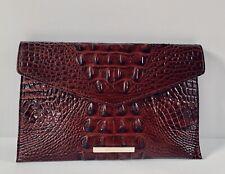 Brahmin Envelope Clutch, Melbourne Croc Embossed Leather Cranberry NWOT