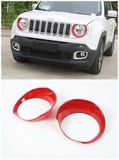 Abs Head Light Lamp Cover Frame Trims for Jeep Renegade 2015-2017 2 pcs-Red
