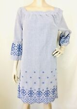 Izod Striped Embroidered Eyelet Seersucker 3/4 Bell Sleeve Dress Size Small