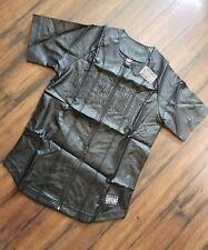 rocksmith shirt black ninja star leather baseball (s) msrp $78